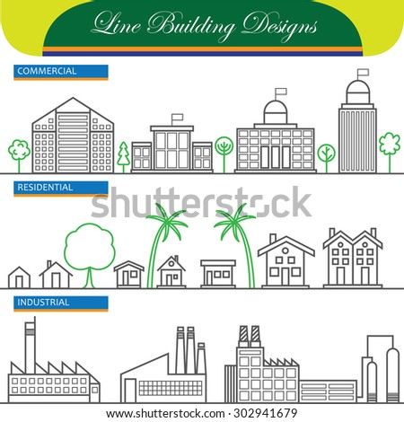 vector line concept icons of commercial, residential and industrial buildings. these also represent concepts like flats, real estate, property, office space, factory, industry, home, house - stock vector