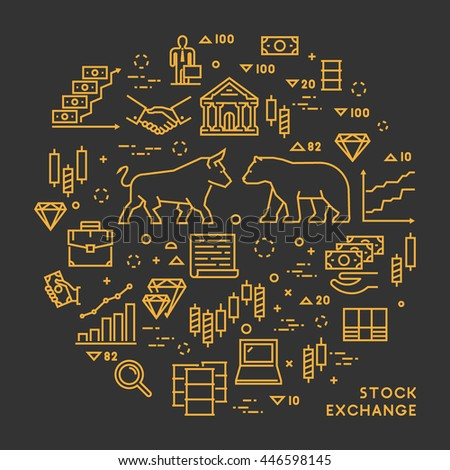 Vector line concept stock exchange. Linear symbol commodity exchange. Modern banner stock market. Open path. - stock vector