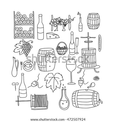 Vector Line Doodle Icon Set Winemaking Stock Vector