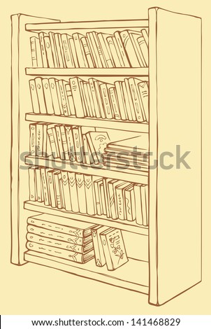 Vector line drawing sketch. Bookcase with varied collection of books