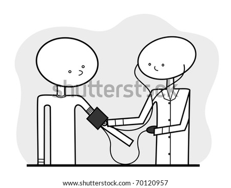 Vector - Line drawn medical illustration, featuring a generic nurse or doctor taking a patient's blood pressure, in a neutral color scheme which can be additionally colored if and as desired. - stock vector