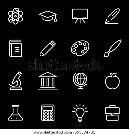 Vector line education icon set.