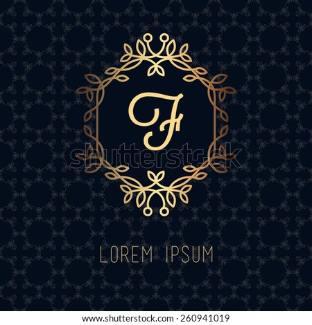 Vector line frame design elements for logos,ornament and decoration, emblem, logo, background, frames and borders in modern style, gold line color,monogram floral for you logotype. - stock vector