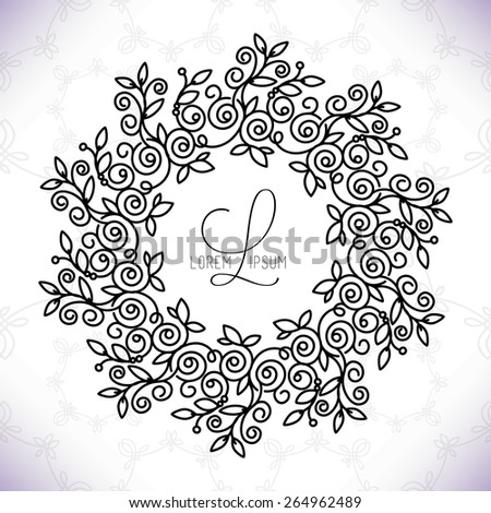Vector line frame design elements for logos,ornament and decoration, emblem, logo, background, frames and borders in modern style, mono line style, floral for you logotype. - stock vector