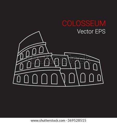Vector Line Icon of Colosseum, Rome, Italy.  - stock vector
