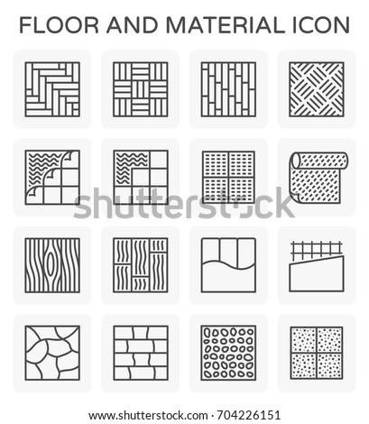 Vector line icon of floor and material.