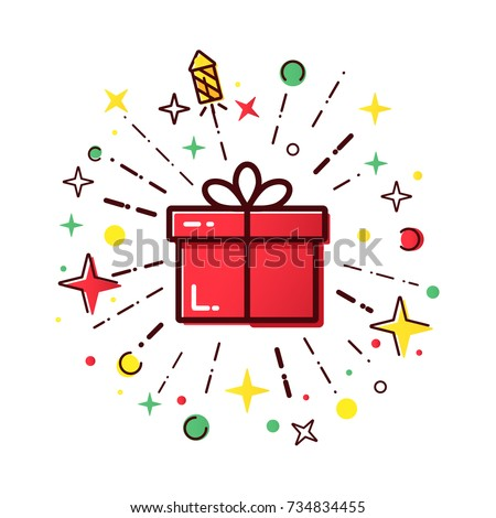 Vector line icons of christmas gift box with a firework. Cute illustration of red gift box, concept for boxing day sale.