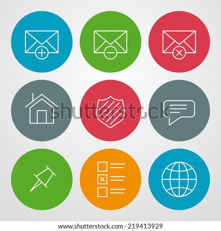 Vector line icons set. For web site design and mobile apps - stock vector