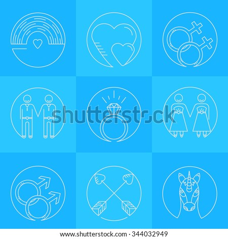 Vector line icons. Set of gay marriage and gay love icons. LGBT symbols including unicorn and rainbow. Homosexual design elements. Gay pride. Same sex love. - stock vector