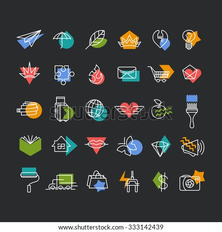 Vector line icons' set with color geometrical accents. Web, travel, money, shopping, love, mail, lifestyle thematic collection for dark background.  - stock vector