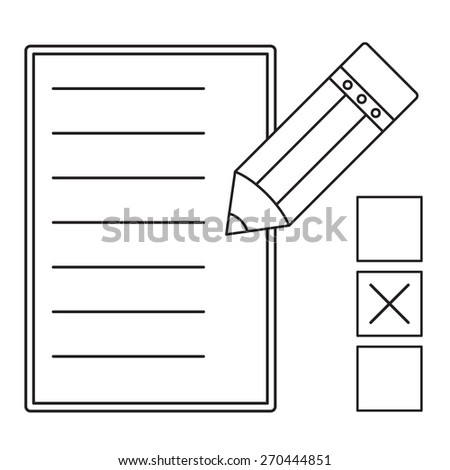 Vector line illustration check mark symbol on checklist with pencil  on white background - stock vector