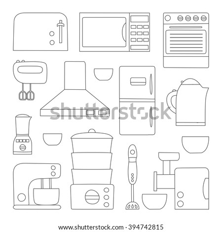 Vector Line Kitchen Appliances Icon. Simple Flat Style Of Kitchen Interior  Design. Apartment Kitchen Part 37