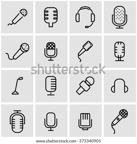 Vector line microphone icon set. Microphone Icon Object, Microphone Icon Picture, Microphone Icon Image - stock vector - stock vector