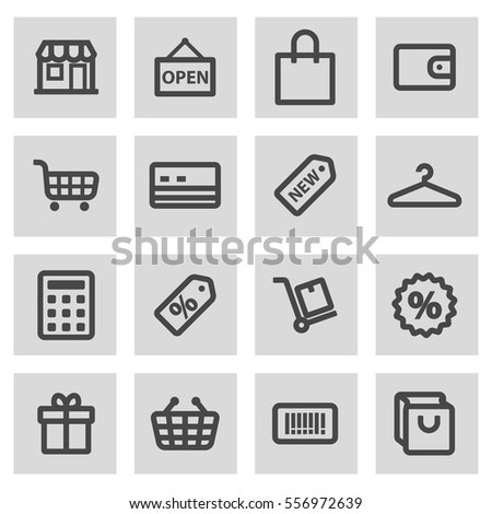 Vector line shopping icons set