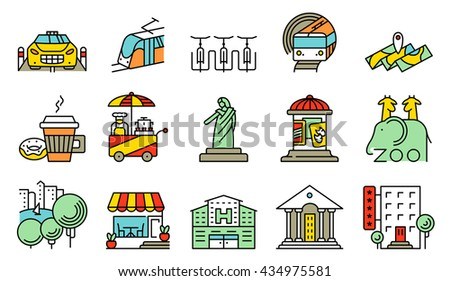 Vector line simple and thin locations and city icons set. ?ollection includes coffee cup with donut, subway, bicycle parking, street food, affiche, cafe facade, hospital and official building, park - stock vector
