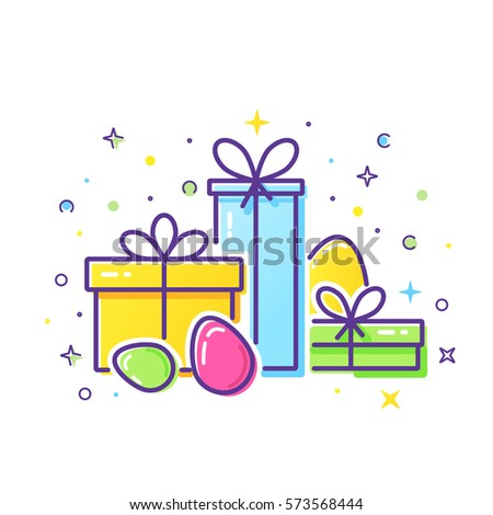 Vector line style logo gift boxes stock vector 573568444 shutterstock vector line style logo with gift boxes and easter eggs easy to use business template negle Image collections