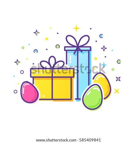 Vector line style logo gift boxes stock vector 585409841 vector line style logo with gift boxes and easter eggs easy to use business template negle Choice Image