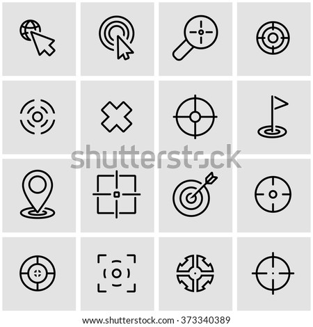 Vector line target icon set. - stock vector