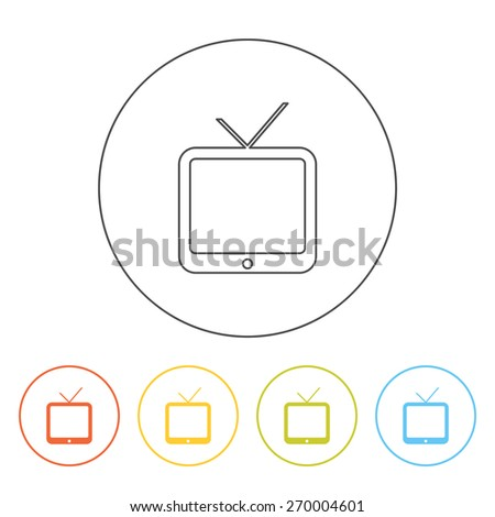 Vector line TV icon. Simple outline pictogram of a television. Concept for broadcasting, mass media - stock vector