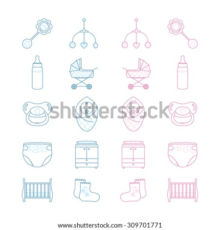 Vector linear baby girl and baby boy icon set - stock vector