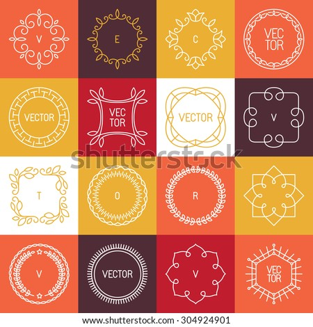 Vector linear badges and frames for logos and monograms in trendy mono line style - abstract circle borders  - stock vector