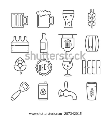 Vector linear beer icons foe print menu, web, design, or infographics - stock vector