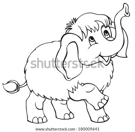 Vector linear cartoon. Cute baby mammoth isolated on white background - stock vector