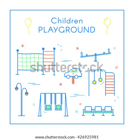 Vector Linear Children's Playground Design Elements Set in Line Style - swing, seesaw, rope ladder, bench, toy car. Thin line art icons. Playground design elements for map.  - stock vector