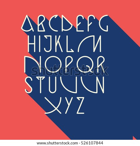 Vector Linear Font Simple Alphabet Mono Stock 526107844