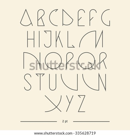 Vector linear font - simple alphabet in mono line style - typography design elements.Thin line iconographic flat letters. Hipster modern font. uppercase serif font. Web design elements. - stock vector