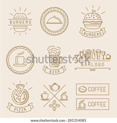 Vector linear food labels and badges with trendy linear illustrations - coffee, beer, pizza and burger - stock vector