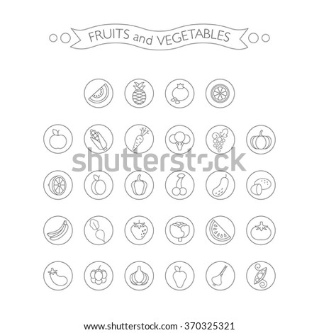 Vector linear FRUITS and VEGETABLES icons. - stock vector
