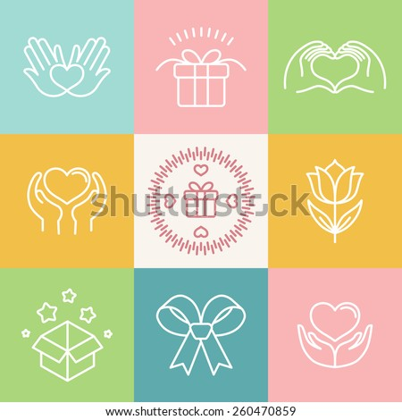 Vector linear gift icons and logos - made with love emblems in outline style - stock vector