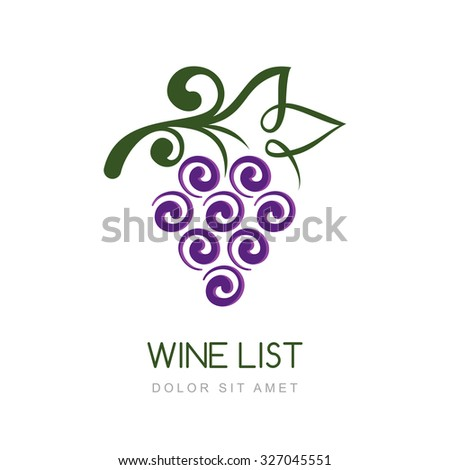Vector linear grape vine logo design template. Concept for organic products, harvest, healthy food, wine list, menu.
