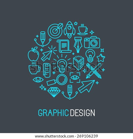 Vector linear graphic design concept made of icons and signs  - stock vector