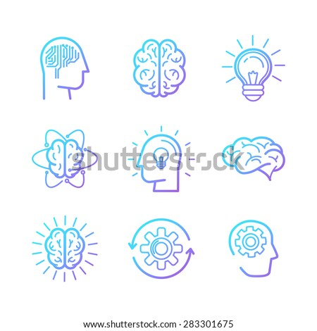 Vector linear icons and design elements - smart new technologies and innovation concepts - creative logo design elements  - stock vector