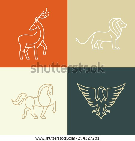 Vector linear icons and logo design elements - horse, lion, deer and eagle - stock vector