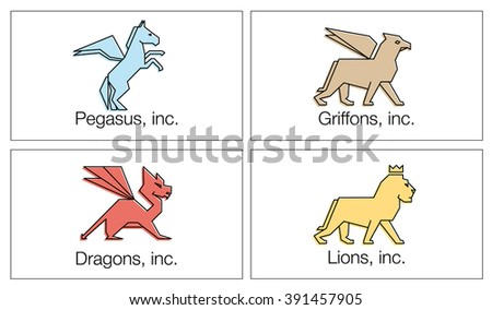 Vector linear icons and logo design elements - pegasus, lion, dragon and griffin on a  white background    - stock vector
