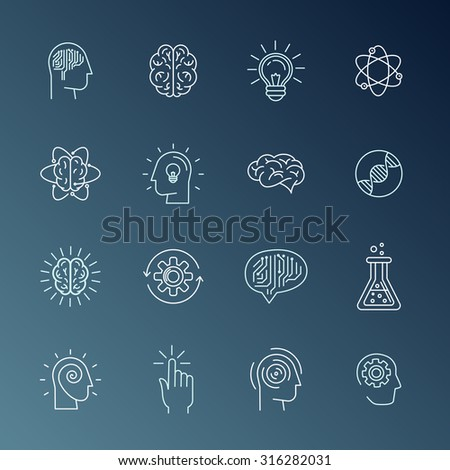 Vector linear icons and sign related to human mind, personal growth, mental health, idea generating and thinking - set of abstract concepts and logo design elements in mono line style - stock vector