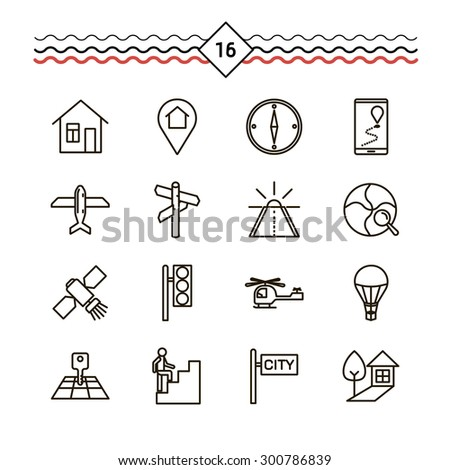 Vector linear icons set for location. - stock vector
