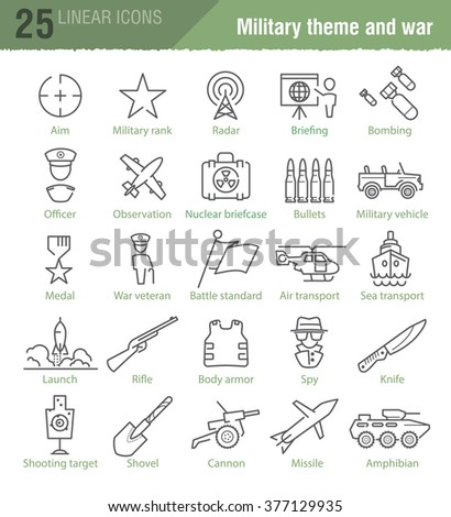 Vector linear icons set for military infographics, TV news design and mobile UI - stock vector