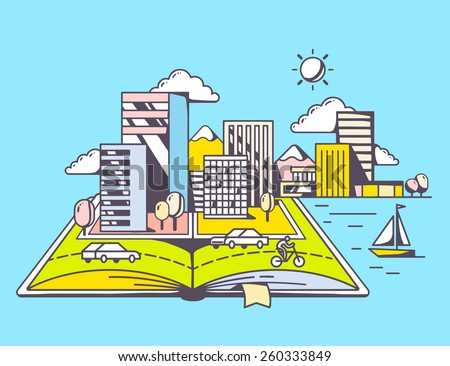 Vector linear illustration of cartoon open book with modern city on blue background. Color hand draw line art design for web, site, advertising, banner, poster, board and print. - stock vector