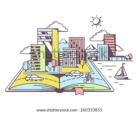 Vector linear illustration of cartoon open book with modern city on white background. Color hand draw line art design for web, site, advertising, banner, poster, board and print. - stock vector