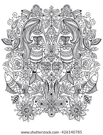 vector linear illustration of fantasy mermaids, fish and folk floral elements. Can be used as a coloring book template.