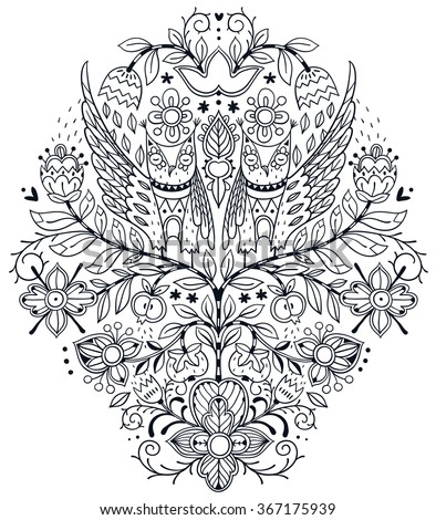 vector linear  illustration of fantasy plants and owls . Can be used as a coloring book template