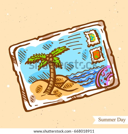 Vector linear illustration of greeting card from summer beach isolated on paper background with abstract texture. Hand drawn sketch in retro style of postcard with seaside. Image in vintage style.
