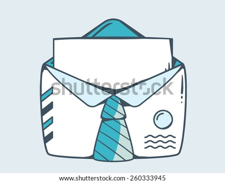 Vector linear illustration of white open envelope with blue tie on gray background. Color hand draw line art design for web, site, advertising, banner, poster, board and print. - stock vector