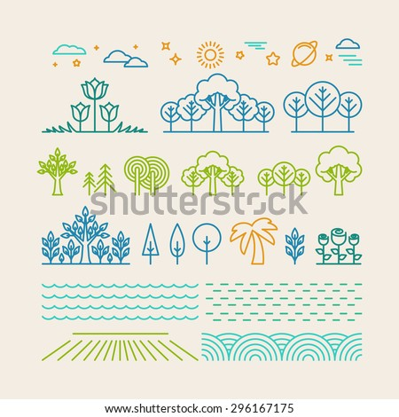 Vector linear landscape icons in trendy mono line style - trees, flowers, clouds