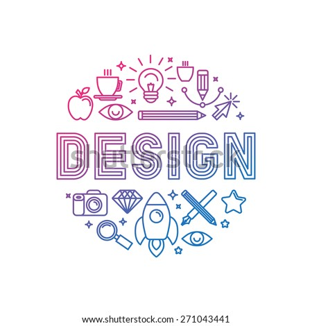Vector linear logo design concept - illustration with icons and signs related to graphic design and creative process - stock vector