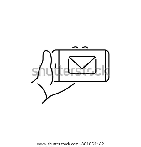 Vector linear phone and technology icons with hand gesture holding smartphone in one hand with email envelope on touchscreen | flat design modern black illustration and infographic on white background - stock vector